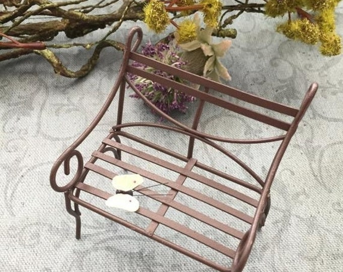 SALE Little Metal Bench,  Rustic Wire, Fairy Garden Accessory, Garden Decor, Miniature Gardening