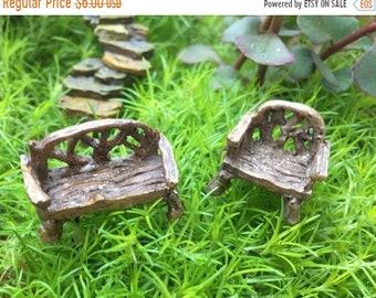 SALE Micro Mini Woodland Chair and Bench, Twig Look Furniture, Fairy Garden Accessory, Mini Home & Garden Decor, Terrariums, Crafts