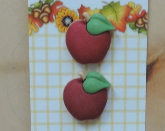 Featured listing image: SALE Apple Buttons, Fall Friends Collection by Buttons Galore, Carded set of 3 Buttons,Shank Back Buttons, Sewing, Crafting, Embellishments