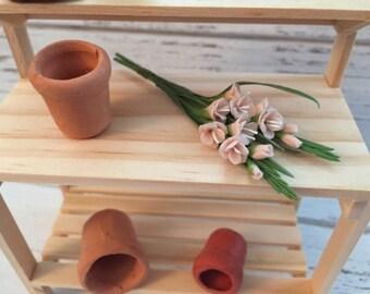 Miniature Gladiolus, 2 Stem Bunch, Light Pink Gladiolus #61, Miniature Flowers, Dollhouse Miniature, 1:12 Scale, Mini Pink Flowers