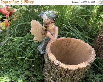 SALE Mini Fairy Planter, Fairy on Stump Log Look Planter, Fairy Garden Accessory, Mini Garden Decor, Home and Garden, Gift, Topper