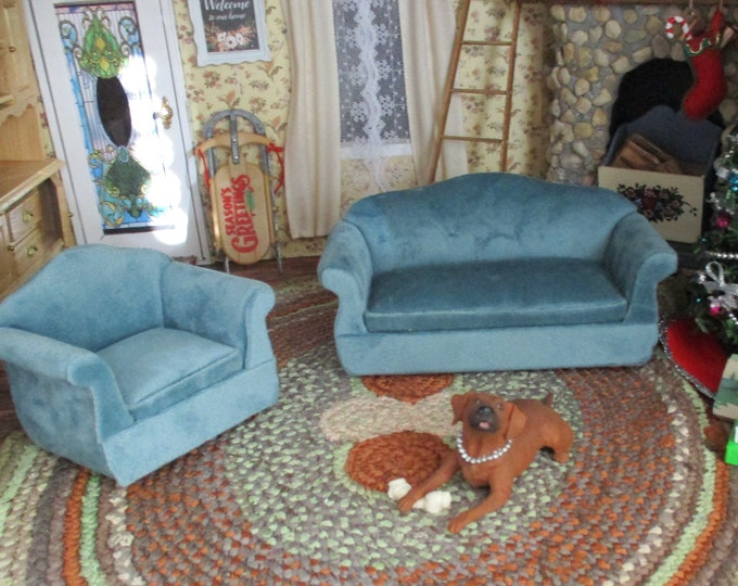 Miniature Living Room Set, Soft Teal Sofa and Armchair, 2 Piece Set, Dollhouse Miniature Furniture, 1:12 Scale, Dollhouse Furniture