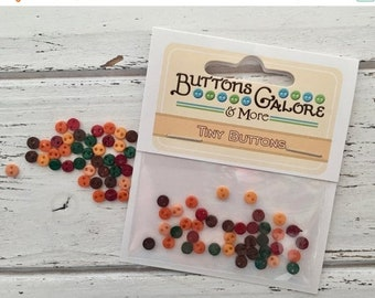 """SALE Micro Buttons, Tiny 4mm Packaged Buttons, """"Harvest"""" #1807, by Buttons Galore, Fall Colors, 2 Hole Tiny Buttons"""