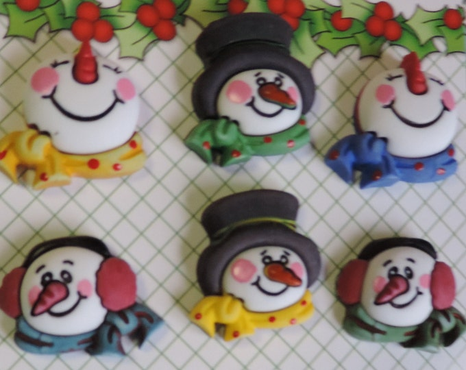 "Snowman Buttons, ""Snowman Medley"" Novelty Buttons Carded Set of 6 . Buttons by Buttons Galore, Seasonal Buttons, Winter, Snow"