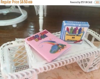 SALE Miniature Rainbow Coloring Book and Crayon Box, Dollhouse Miniatures, 1:12 Scale, Dollhouse Decor, MIniature Accessories