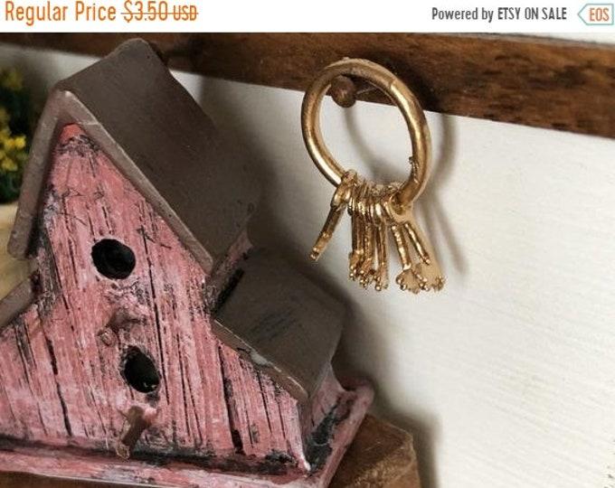 SALE Miniature Keys, Gold Keys on Ring, Style #33, Dollhouse Miniature, 1:12 Scale, Mini Vintage Style Keys, Crafts, Dollhouse Accessory, De