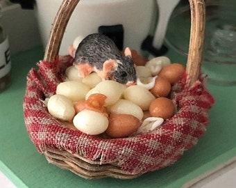SALE Miniature Mice Figurine, Mouse in Egg Basket #29, Miniature Mouse, Dollhouse Miniatures, 1:12 Scale, Dollhouse Decor, Topper, Crafts