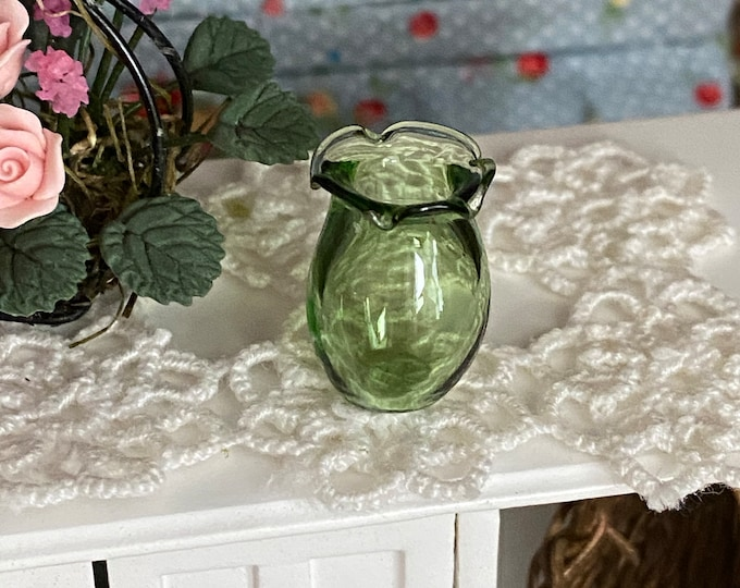 Miniature Glass Vase, Green Fluted Glass Vase, Style #60, Dollhouse Miniature, 1:12 Scale, Dollhouse Accessory, Decor, Mini Vase