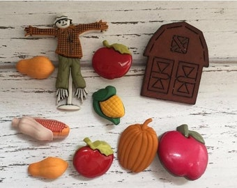 "SALE Fall Themed Buttons, Packaged Novelty Buttons by Buttons Galore,""Autumn Harvest"" Style 4622, Includes Scarecrow, Pumpkin, Apples, Corn,"