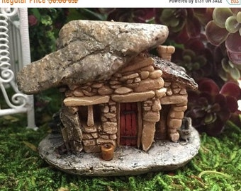 SALE Mini Micro Rock Top House With Flower Pot, Fairy Garden Accessory, Mini Fairy Troll House, Style 45, Miniature Garden Decor, Topper