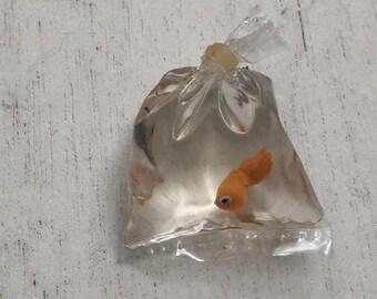 SALE Miniature Goldfish in Bag, Mini Fish, Dollhouse Miniature, 1:12 Scale, Mini Fish in Bag, From Shop Fish, Dollhouse Accessory, Pet, Deco
