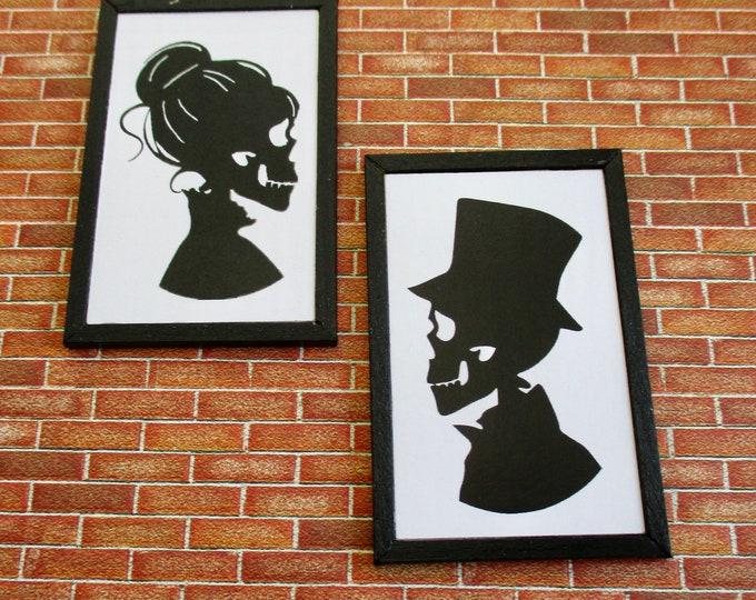Miniature Framed Pictures, Skeleton Couple Pictures, Black Painted Edge Frames, 2 Piece Set, Dollhouse Miniatures, 1:12 Scale