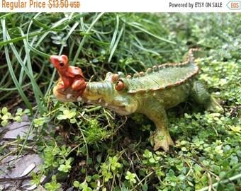 """SALE Little Gator Figurine with Frog Friend, """"Chompie the Gator"""" #4734, Alligator Figurine, Fairy Garden, Miniature Garden Decor, Gift, Topp"""