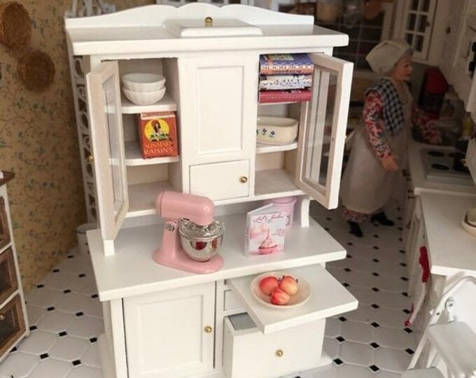 SALE Miniature Flour Bin Hutch, White Wood Flour Hutch Cabinet, Clear Doors, Drawers, Bin, Dollhouse Miniature Furniture, 1:12 Scale, Kitche