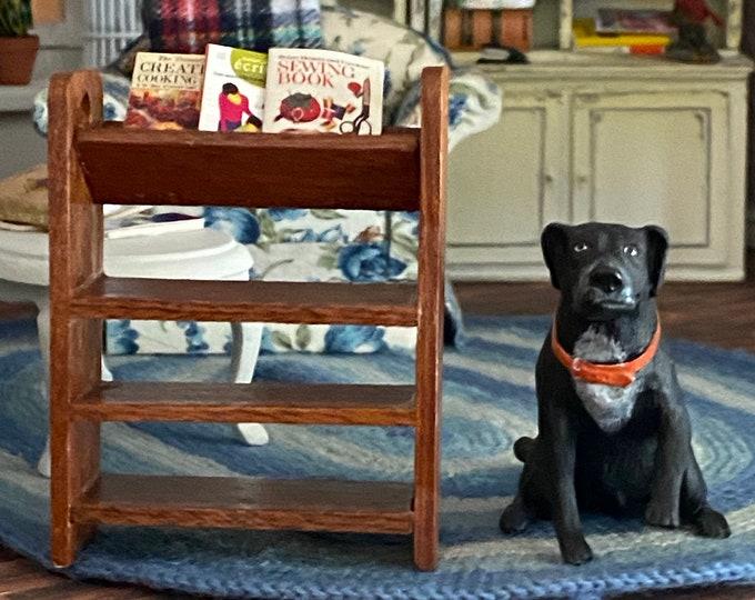 Miniature Bookshelf with Books, Mini Wood Bookcase, Dollhouse Miniature Furniture, 1:12 Scale, Mini Book Buggy, Shelves