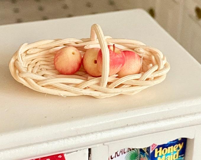 Miniature Basket, Long Oval White Basket, Style #92, Dollhouse Miniature, 1:12 Scale, Dollhouse Accessory, Decor, Mini Basket