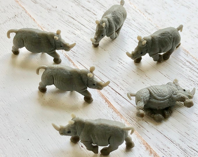 Miniature Rhinos, Standing Mini Rhinoceros,  Set of 6, Tiny Plastic Rhinos,  Great for Crafts, Toppers, Embellishments
