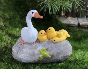 SALE Mother Duck With Ducklings Figurine, Ducks on Rock With Frog #48, Fairy Garden Accessory, Home & Garden Decor, Shelf Sitter, Topper, Gi
