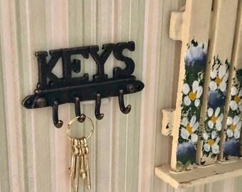 SALE Miniature Key Wall Hooks, Mini Key Holder, Antique Brass Look Hooks, Dollhouse Miniature, Dollhouse Accessory, Wall Decor
