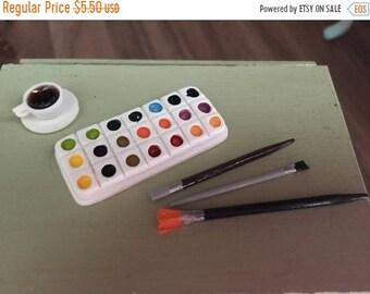 SALE Miniature Paint Palette and Brushes Set, Dollhouse Miniatures, 1:12 Scale, Mini Paints, Mini Paint Brushes, Dollhouse Decor, Accessorie
