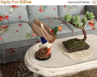 SALE Miniature Duck Figurine, Mallard in Flight Statuette, Mini Figurine, Dollhouse Miniature, 1:12 Scale, Dollhouse Decor, Accessory, Statu
