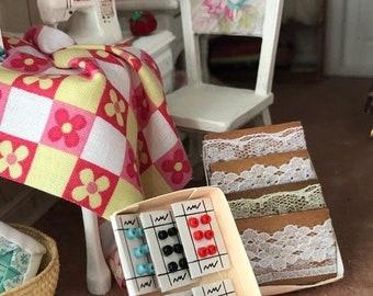 SALE Miniature Box of Buttons, Carded Mini Buttons in Box, Dollhouse Miniature, 1:12 Scale, Dollhouse Accessory, Miniature Sewing Decor
