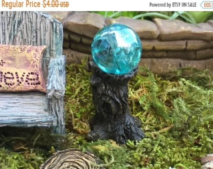 SALE Miniature Blue Garden Glazing Ball on Tree Stump, Fairy Garden Accessory, Garden Decor, Miniature Gardening, Terrarium Accessory