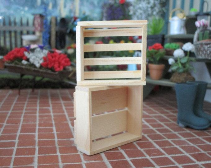 Miniature Wood Crates, 2 Piece Set, 4 And 8 Slat Plain Wood Crates, Dollhouse Miniatures, 1:12 Scale, Mini Wood Storage, Dollhouse Decor