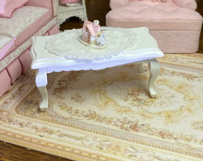 Miniature White Coffee Table, Wood Table, Dollhouse Miniature Furniture, 1:12 Scale, Clearance Priced
