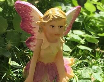 "SALE Micro Mini Fairy Figurine ""Petal"", Fairy Garden Accessory, Garden Decor, Topper, Terrarium Accessory"