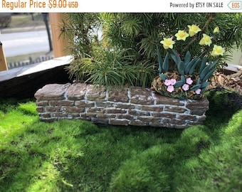 SALE Mini Stone Wall, Fairy Wall, Fairy Garden Accessory, Miniature Garden Decor, Stone Wall Pick, Crafts, Embellishment