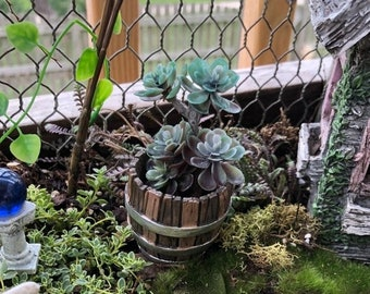SALE Mini Barrel Planter, Aged Wood Look Barrel, Fairy Garden Accessory, Miniature Gardening Decor, Home & Garden, Crafts, Topper, Mini Plan