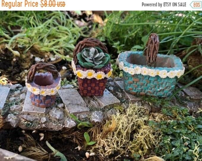 "SALE Mini Baskets, Resin Baskets, Set of 3 ""Daisy"" Baskets, Twig Look Handles,  Fairy Garden Accessory, Miniature Home & Garden Decor"