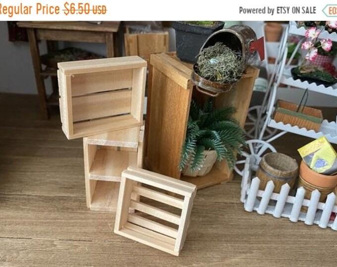 SALE Miniature Wood Crates, 3 Piece Set, 6 Slat, 4 Slat and 8 Slat Set, Dollhouse Miniatures, 1:12 Scale, Mini Wood Storage, Dollhouse Decor