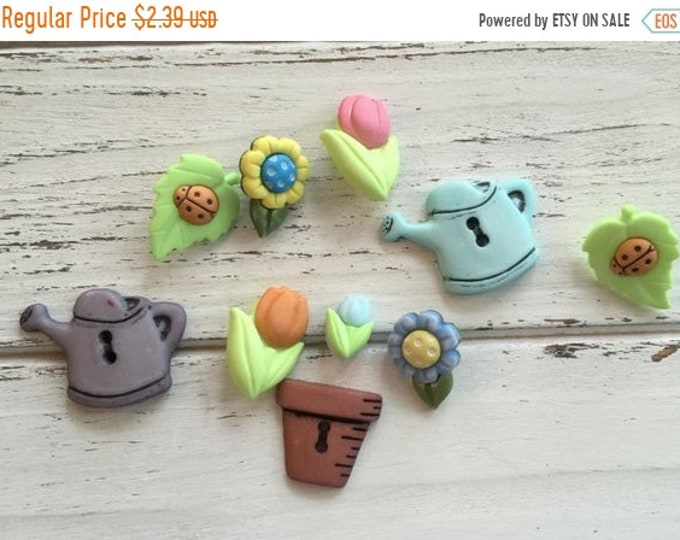 "Featured listing image: SALE Garden Buttons, Packaged Novelty Buttons,""Bloomin Beauties"" Style 4448 by Buttons Galore, Includes Flowers, Watering Can, Flower Pot"