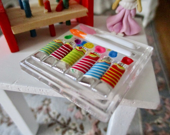 Miniature Art Set With Paints, Watercolors, Spatula, Brush And Tray, Style #01, Dollhouse Miniatures, 1:12 Scale, Dollhouse Accessory
