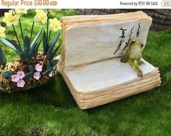 SALE NEW Mini Frog On Book Figurine, Fairy Garden Accessory, Home & Garden Decor, Topper, Shelf Sitter, Tiny Frog In Book