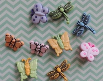 "SALE Bug Buttons, Packaged Novelty Buttons,  ""Flutterbugs"" Style 4254 by Buttons Galore Includes Dragonflies and Butterflies, Sewing, Crafti"