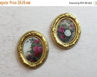 SALE Miniature Framed Rose Flower Pictures, Artwork, Wall Decor, Dollhouse Miniatures, 1:12 Scale, Dollhouse Accessory, Mini Gold Framed Pic
