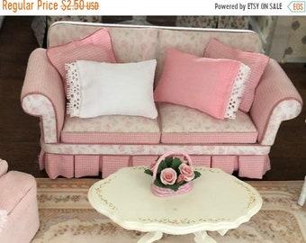 SALE Miniature Pillow, Dollhouse Miniature, 1:12 Scale, Choose Pink or White, Mini Pillow, Accessory, Decor, Crafts