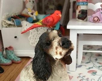 SALE Miniature Bird Figurine, Chattering Lory, Dollhouse Miniature, 1:12 Scale, Dollhouse Pet, Mini Bird, Dollhouse Accessory, Crafts