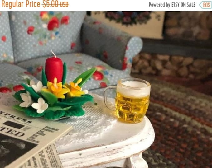 SALE Miniature Beer Mugs, Filled Beer Glasses, 2 Piece Set, Style #42, Dollhouse Miniture, 1:12 Scale, Dollhouse Accessory, Decor
