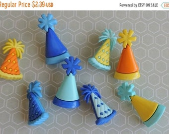 """SALE Party Hat Buttons, Packaged Novelty Button Assortment by Buttons Galore, """"Party Hats"""" Style 4168, Shank Back Buttons, Sewing, Crafting"""