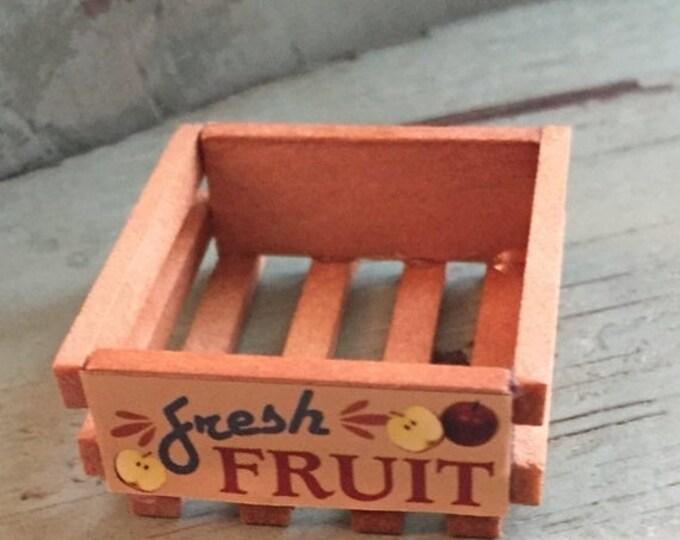 SALE Miniature Fruit Crate, Mini Wood Crate with Label,  Dollhouse Miniature, 1:12 Scale, Dollhouse Accessory, Decor, Crafts, Topper