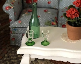 SALE Miniature Wine Bottle and Glasses, Green Glass Bottle and 2 Glasses, Dollhouse Miniatures, 1:12 Scale, Dollhouse Accessory, Decor, Craf