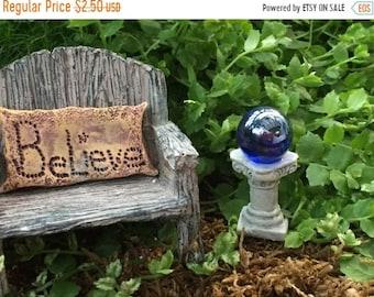 SALE Miniature Blue Gazing Ball, Fairy Garden Accessory, Miniature Garden Decor, Topper