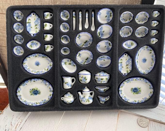Miniature Tea Set, 50 Piece Blue Floral Tea Set, Dollhouse Miniatures, 1:12 Scale, Dollhouse Decor, Accessory, Complete China Tea Set