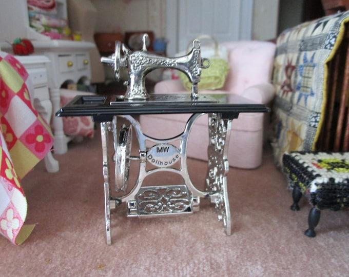 Miniature Sewing Machine, Mini Silver Sewing Machine On Stand, Style #27, Dollhouse Miniature, 1:12 Scale, Dollhouse Furniture, Decor