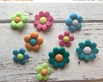 """SALE Flower Buttons, Packaged Novelty Buttons """"Petal Power"""" #4447 by Buttons Galore, Assorted Colors, Shank Back Button, Embellishments"""