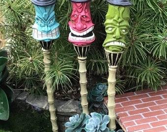 SALE Mini Tiki Torch Set, Mini Garden Picks, Tiki Faces,  Set of 3, Fairy Garden Accessory, Miniature Garden Decor, Mini Colored Tiki Torche